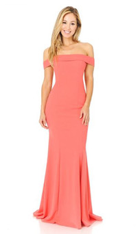 Coral Formal Stretch Jersey Formal Dress Style ES223 - IMAGE 1