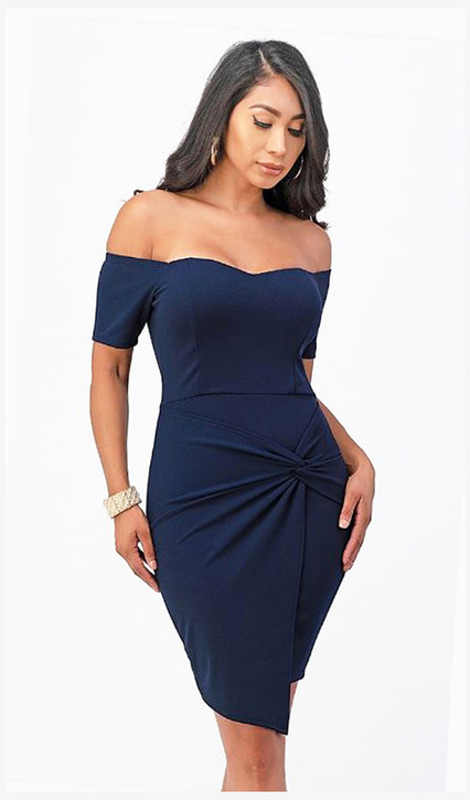 STRETCH JERSEY OFF SHOULDER COCKTAIL DRESS WITH FRONT TWIST - IMAGE 1