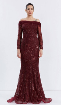 Sparkly tulle off-shoulder gown with sheer sleeves  - Image 1