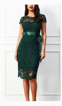 capped lace midi dress style ES311H - IMAGE 4