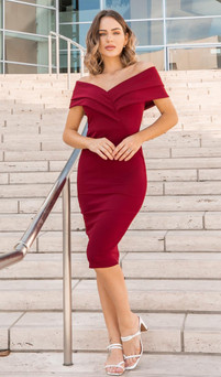 STRETCH JERSEY MIDI DRESS WITH THICK STRAPS - IMAGE 2
