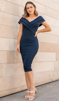 stretch jersey midi dress with thick double straps - image 1