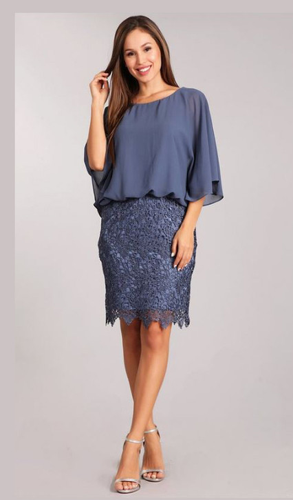 draped top dress sitting atop a lace skirt combination Style ES219 - IMAGE 1