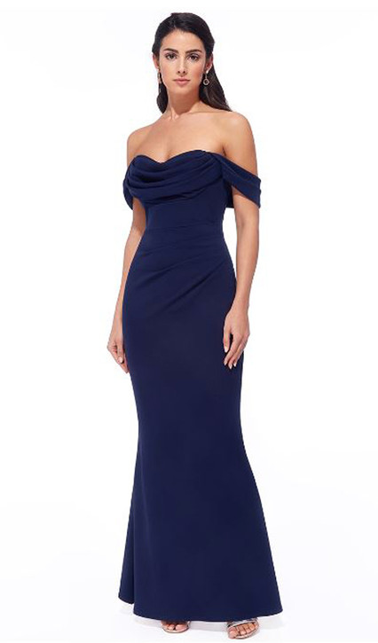 JERSEY OFF-SHOULDER MIDI DRESS WITH DRAPED BUST AREA STYLE ES308 - IMAGE 1