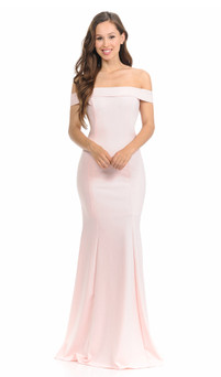 stretch jersey off shoulder bridesmaids dress style ES223B - image 1