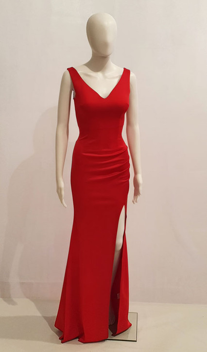 Red stretch jersey plain formal dress with split style EC58- Image 1