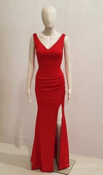 Red stretch jersey plain formal dress with split style EC58- Image 2