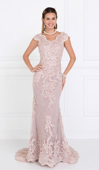 light mauve modest lace & pearls red carpet gown style RC580 - Image 1