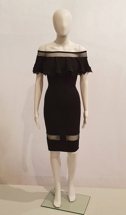 STRETCH JERSEY OFF SHOULDER COCKTAIL DRESS WITH SHEER INSERTS - IMAGE 1