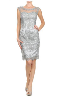 SHEER LACE EMBROIDERED BELOW THE KNEE PARTY DRESS - IMAGE 1
