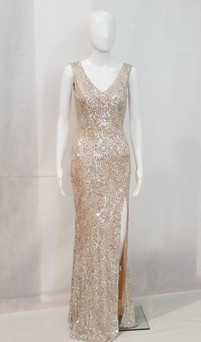 sequin pattern fitted gown with side split- image 1