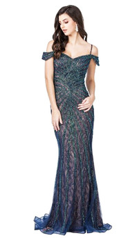 unique off shoulder lace and stripe beading gown - image 1
