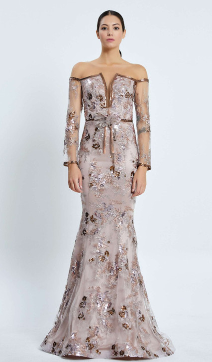 DESIGNER RED CARPET HANDMADE LACE/SEQUIN GOWN - IMAGE 1