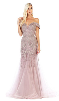 Light Berry off shoulder metallic lace evening gown - Image 1
