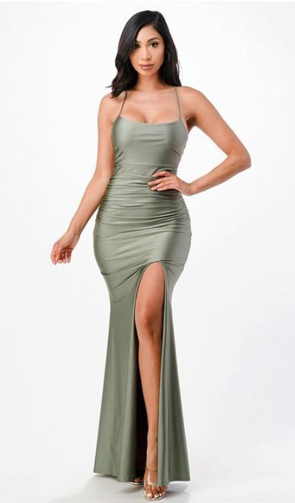Olive Stretch Satin Gown with String Back & Side Split - Image 1
