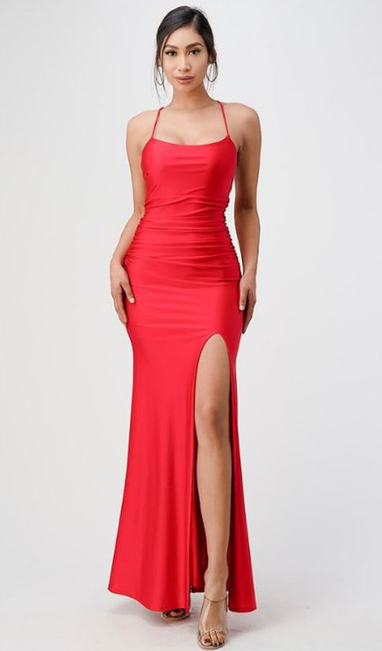 SATIN GOWN WITH SIDE SPLIT AND STRUNG BACK - IMAGE 1