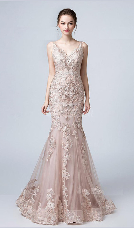 ROSE GOLD LACE GOWN STYLE RC573 - IMAGE 1