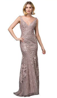 Mocha Hand-Made Bead & Lace Glamour Gown Style RC581