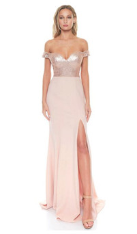 SCHOOL FORMAL DRESS -  OFF SHOULDER ROSE SEQUIN GOWN STYLE EC46R - IMAGE 1