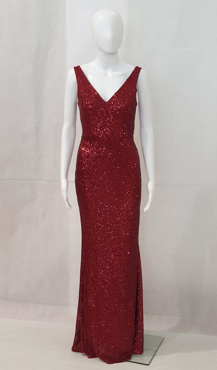 DAZZLING BURGUNDY STRETCH SEQUIN FORMAL GOWN - IMAGE 2
