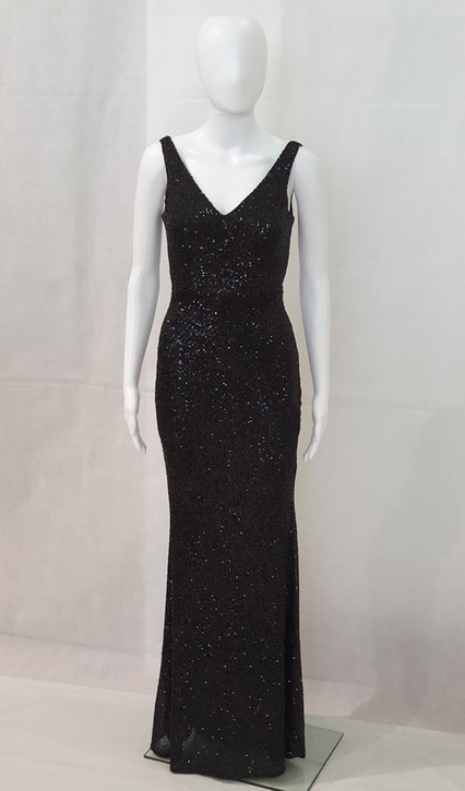 ELEGANT BLACK STRETCH SEQUIN FORMAL DRESS MELBOURNE - IMAGE 1