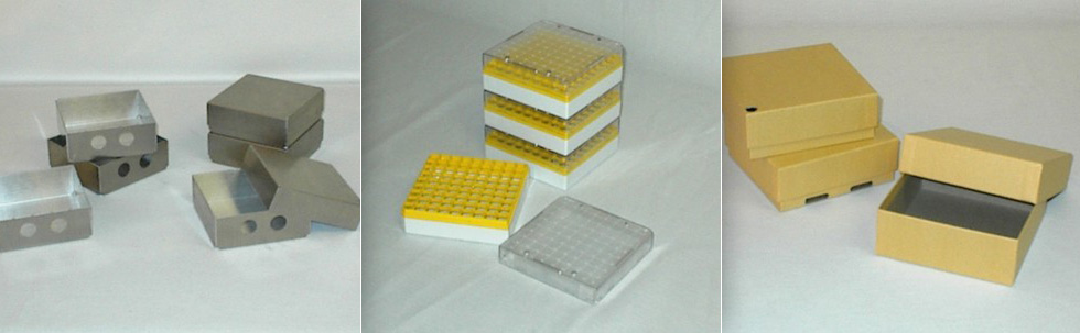 Standard cardboard boxes and cell dividers