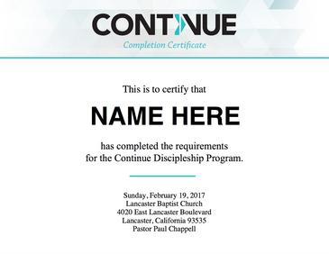 Continue Certificate