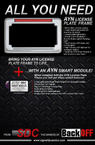 Chrome AYN MOTORCYCLE License Plate Frame & Smart Module Combo