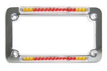 Chrome Classic Dual LED License Plate Frame with Integrated Turn Signals & Clear 'Euro' Lens
