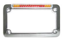 Chrome Classic License Plate Frame with Integrated Turn Signals & Clear 'Euro' Lens