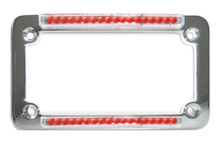 Chrome Classic Dual LED License Plate Frame W/ Red LEDs & 'Euro Clear' Lens