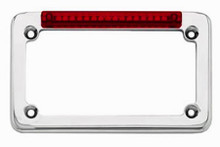 Chrome Classic LED License Plate Frame w/ Red LEDs & Red Lens
