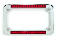 Chrome Classic Dual LED License Plate Frame w/ Red LEDs & Red Lens