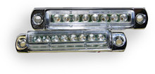 """3"""" Pair (2) Red LED Light Bar with Chrome Casing and Clear 'Euro' Lens"""