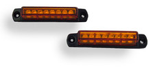 "3"" Pair (2) Amber LED Light Bar with Black Casing and Amber Lens"