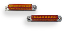 "3"" Pair (2) Amber LED Light Bar with Chrome Casing and Amber Lens"