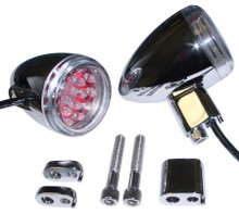 Red LED Bullet Lights - Chrome Finish - Base Mount