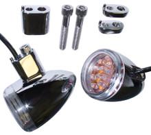 Amber LED Bullet Lights - Chrome Finish - Base Mount