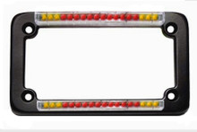 Black Classic Dual LED License Plate Frame with Integrated Turn Signals & Clear 'Euro' Lens