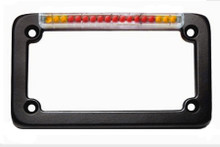 Black Classic License Plate Frame with Integrated Turn Signals & Clear 'Euro' Lens