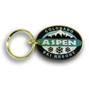 Aspen Mountain Snowflake Ski Resort Keychain Front