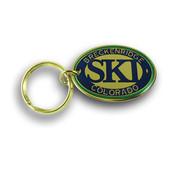 Breckenridge Green and Blue Ski Resort Keychain Front
