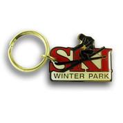 Winter Park Skier Keychain Front