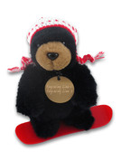 Black Bear Snowboarder Plush Toy Circle Tag