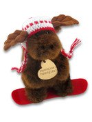 Moose Snowboarder Plush Toy Heart Tag