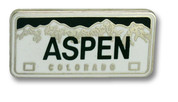 Aspen License Plate Ski Resort Pin