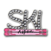 Aspen Pink Skis Ski Resort Pin