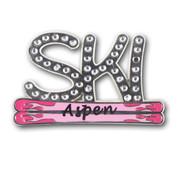 Aspen Pink Skis Ski Resort Pin