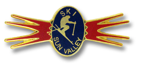 Sun Valley Red & Blue Ski Resort Pin