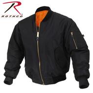 Rothco Enhanced Nylon MA-1 Flight Jacket - Black